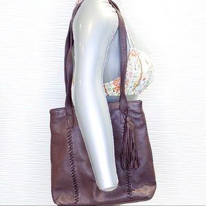 Valerie Stevens Genuine Leather Brown Shoulder Bag